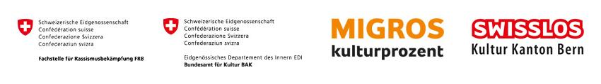 Logos: Migros Kulturprozent, Swisslos, FRB und BAK