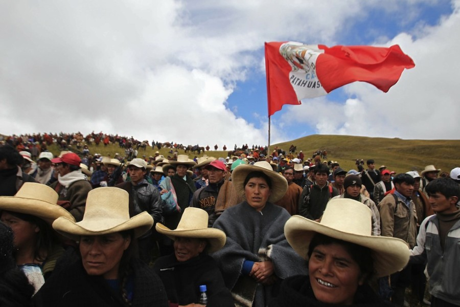 Peruvian tenants protest peacefully in the region of Cajamarca against the gold project Conga.