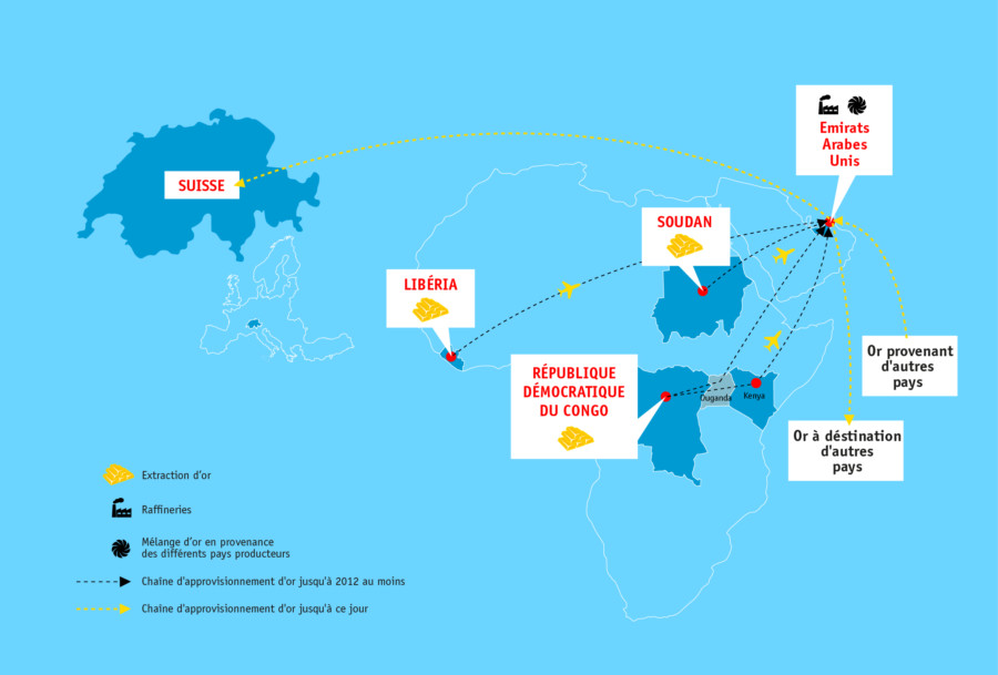 Carte mondiale avec des provenances d' or