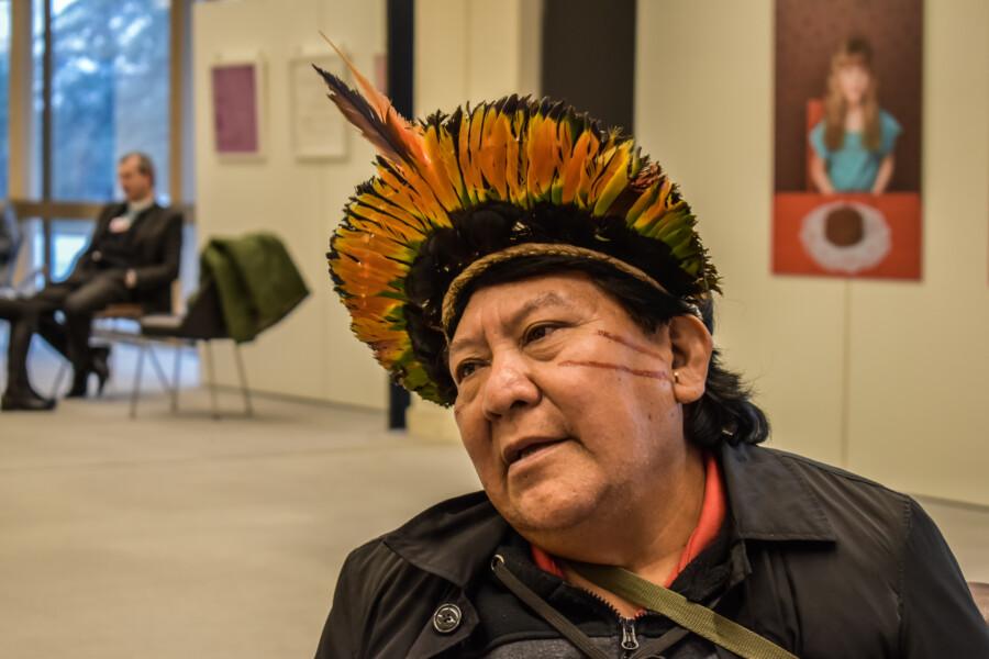 Davi Kopenawa Yanomami an der Uno in Genf, März 2020
