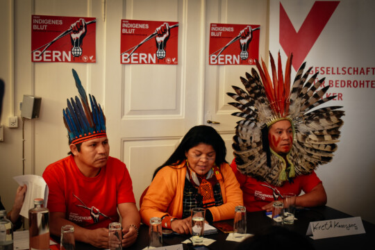 Press conference of indigenous delegates from Brazil in Bern: Elizeu Guarani Kaiowá, Sonia Guajajara and Kretã Kaingang