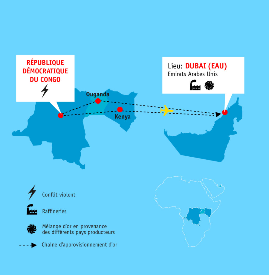 Carte avec le chemin de l' or de la République Démocratique du Congo