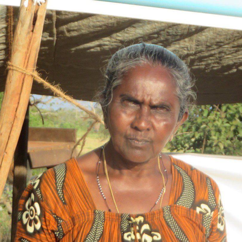 Sinnapu Anthonia Vaas an einem ihrer Proteste um Landrecht in Mullikulam.